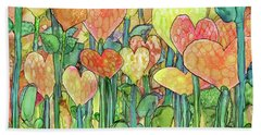 Hand Towel featuring the mixed media Heart Bloomies 3 - Golden by Carol Cavalaris