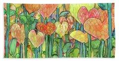 Bath Towel featuring the mixed media Heart Bloomies 3 - Golden by Carol Cavalaris