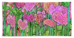 Hand Towel featuring the mixed media Heart Bloomies 3 - Pink And Red by Carol Cavalaris