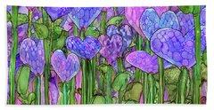 Bath Towel featuring the mixed media Heart Bloomies 3 - Purple by Carol Cavalaris