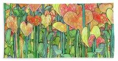 Bath Towel featuring the mixed media Heart Bloomies 4 - Golden by Carol Cavalaris