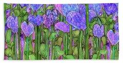 Bath Towel featuring the mixed media Heart Bloomies 4 - Purple by Carol Cavalaris