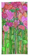 Hand Towel featuring the mixed media Heart Bloomies 1 - Pink And Red by Carol Cavalaris