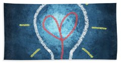 Heart In Light Bulb Hand Towel
