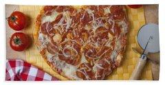 Heart Shaped Pizza Hand Towel