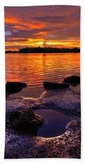 Heart Shaped Pool At Sunset Over Lake Worth Lagoon On Singer Island Florida Hand Towel