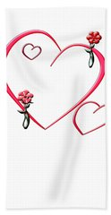 Bath Towel featuring the digital art Hearts And Flowers by Judy Hall-Folde