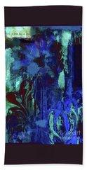Red Heart- Blue Flowers Bath Towel