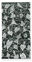 Hearts, Spades, Diamonds And Clubs In Black Hand Towel