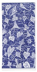 Hearts, Spades, Diamonds And Clubs In Blue Hand Towel