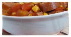 Hearty Ham, Smoked Sausage And Vegetable Soup Bath Towel