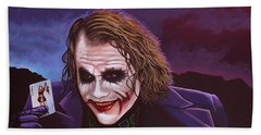 Heath Ledger As The Joker Painting Hand Towel by Paul Meijering