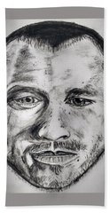 Heath Ledger Charcoal Sketch Hand Towel by Dushyant Kumar