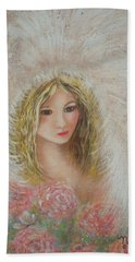 Bath Towel featuring the painting Heavenly Angel by Natalie Holland