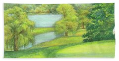Hand Towel featuring the painting Heavenly Golf Course Landscape by Judith Cheng