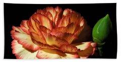 Heavenly Outlined Carnation Flower Bath Towel