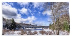 Bath Towel featuring the photograph Heavy Snow At The Green Bridge by David Patterson
