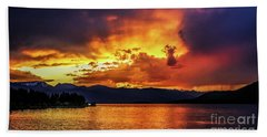 Hebgen Lake Sunset Hand Towel