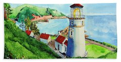 Heceta Head Lighthouse Hand Towel by Tom Riggs