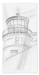 Hecitia Head Lighthouse Sketch Bath Towel