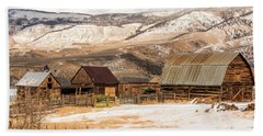 Bath Towel featuring the photograph Heeney Road Barns And Snow by Stephen Johnson