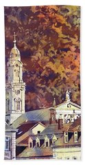 Hand Towel featuring the painting Heidelberg Evening by Ryan Fox