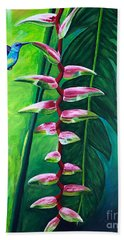 Heliconia Flower And Friend Bath Towel