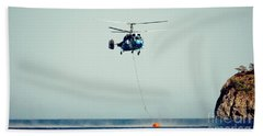 Helicopter Firefighter Take Water In The Sea Hand Towel