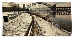 Hellgate Bridge In Winter Bath Towel