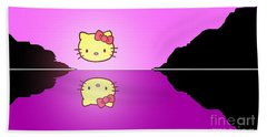 Hello Kitty Sunrise Hand Towel by George Pedro