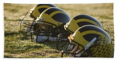 Helmets On The Field At Dawn Hand Towel