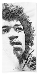 Hand Towel featuring the drawing Hendrix by Charlie Roman
