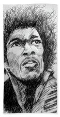 Hendrix Pen Drawing  Bath Towel