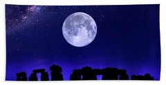 Henge Under The Supermoon Bath Towel