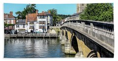 Henley And The Angel On The Bridge Bath Towel by Ken Brannen