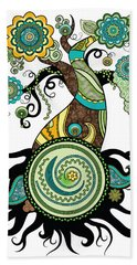 Henna Tree Of Life Hand Towel by Serena King