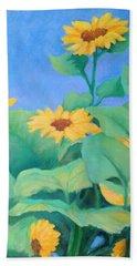 Her Sunflower Garden Original Oil Painting Of Sunflowers Bath Towel
