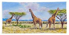 Herd Of Giraffe Hand Towel