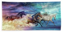 Herd Of Horses In Pastel Bath Towel