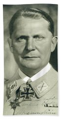 Herman Goering Autographed Photo 1945 Color Added 2016 Bath Towel
