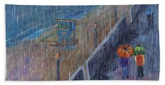 Hand Towel featuring the painting Hermosa Beach Rain by Jamie Frier
