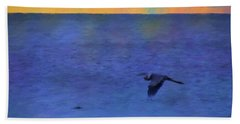 Heron Across The Sea Hand Towel by Jan Amiss Photography