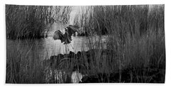 Heron And Grass In B/w Bath Towel