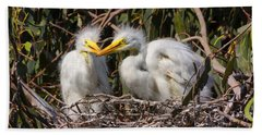 Heron Babies In Their Nest Bath Towel