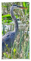 Heron By The Riverside Bath Towel
