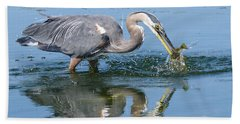 Great Blue Heron Catches A Fish Hand Towel