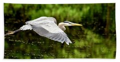Heron In Flight Hand Towel