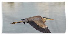 Heron In Flight Bath Towel