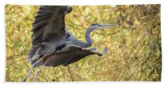 Heron In Flight Hand Towel by Keith Boone