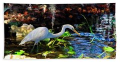 Heron In Quiet Pool Bath Towel by David  Van Hulst
